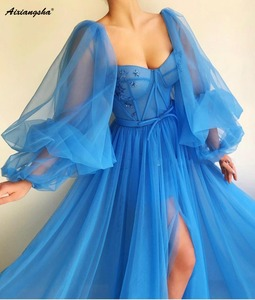 Image 2 - Romantic Blue Muslim Evening Dresses 2019 A line Sweetheart Long Sleeves Tulle Islamic Dubai Saudi Arabic Long Evening Gown Prom