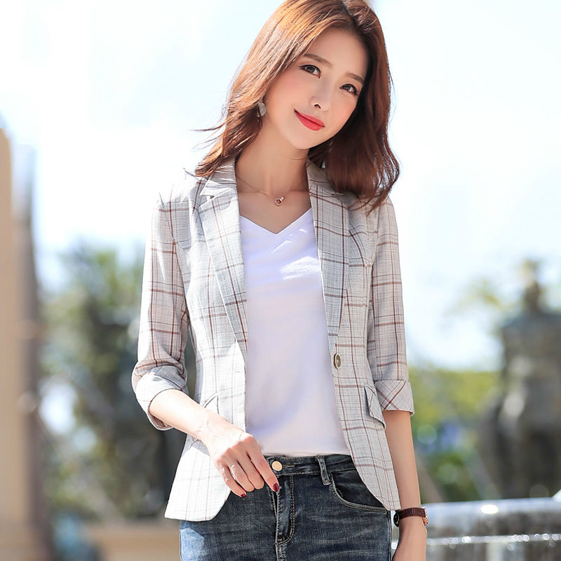 PEONFLY Elegant Autumn Turn Down Collar Slim Plaid Blazer Jacket Half Sleeve Office Lady Woman Suits Slim Casual Buckles Coat