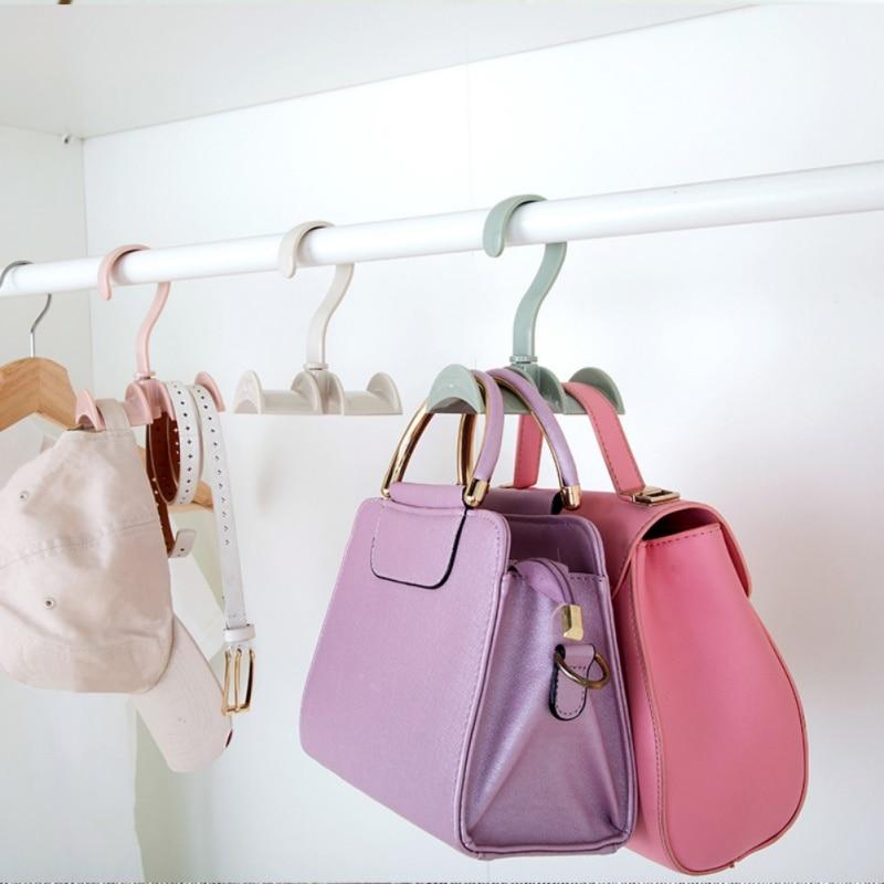 1 Pcs Rotatable Plastic Hooks Handbag Holder 4-hooks Purse Bag Hanger Hanging Rack Storage Organizer Shelf Hanger Hanging Rack A Complete Range Of Specifications Home Improvement