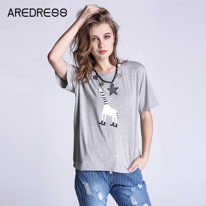 L-4XL Plus Size Cotton Summer Grey Loose Giraffe Print T Shirt Women Casual Tops Tee Tshirt Femme For Young Girls 2016