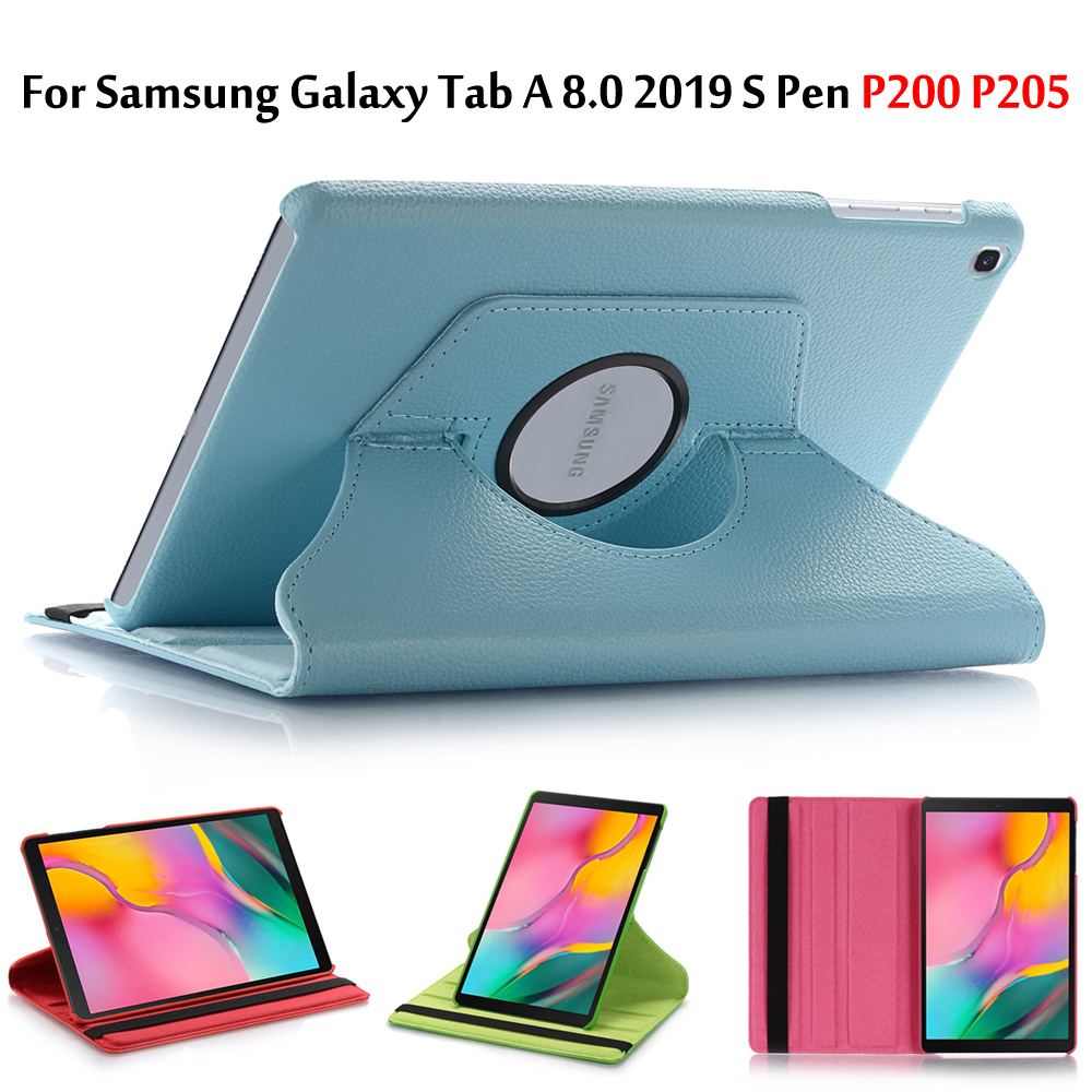 Cover P205 360-Rotating-Case P200 Smart Galaxy Samsung Auto-Sleep/wake-Stand For Tab-A