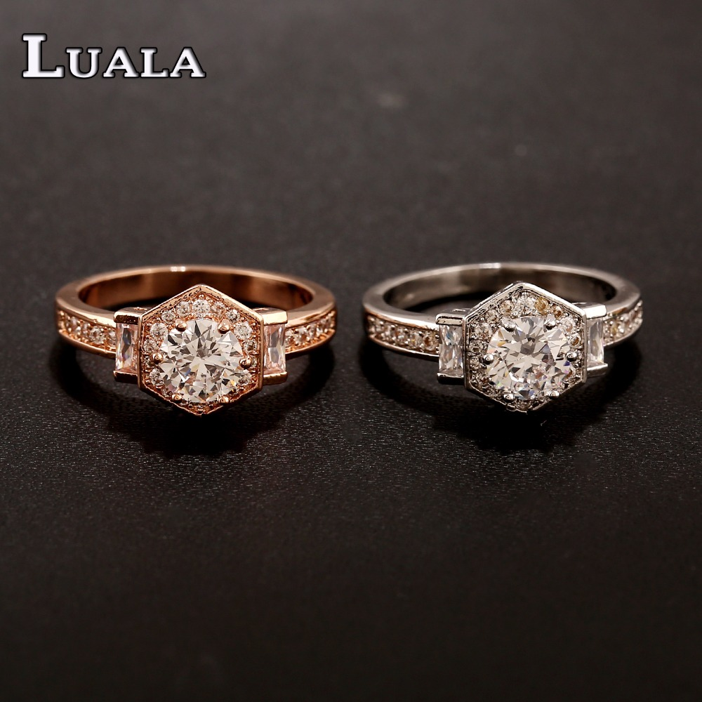 LUALA 2017 New Arrival Hot Sale Classic Jewelry Engagement Ring Lord Rose Gold Colour and Silver