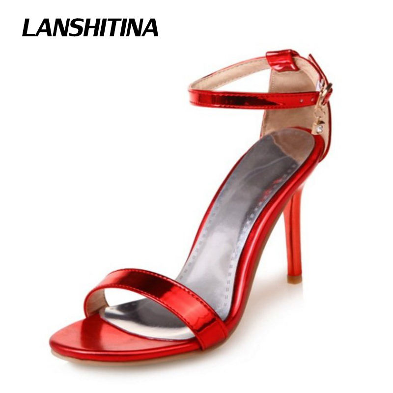 Big Size 30-50 Women High Heel Sandals Narrow Band Woman Bright Sandals Lady Summer Heel Shoes Sandals Party Wedding Shoes G1968 beango mixed color women sandals women square high heel shoes woman narrow band buckle open toe concise sandal shoes for lady