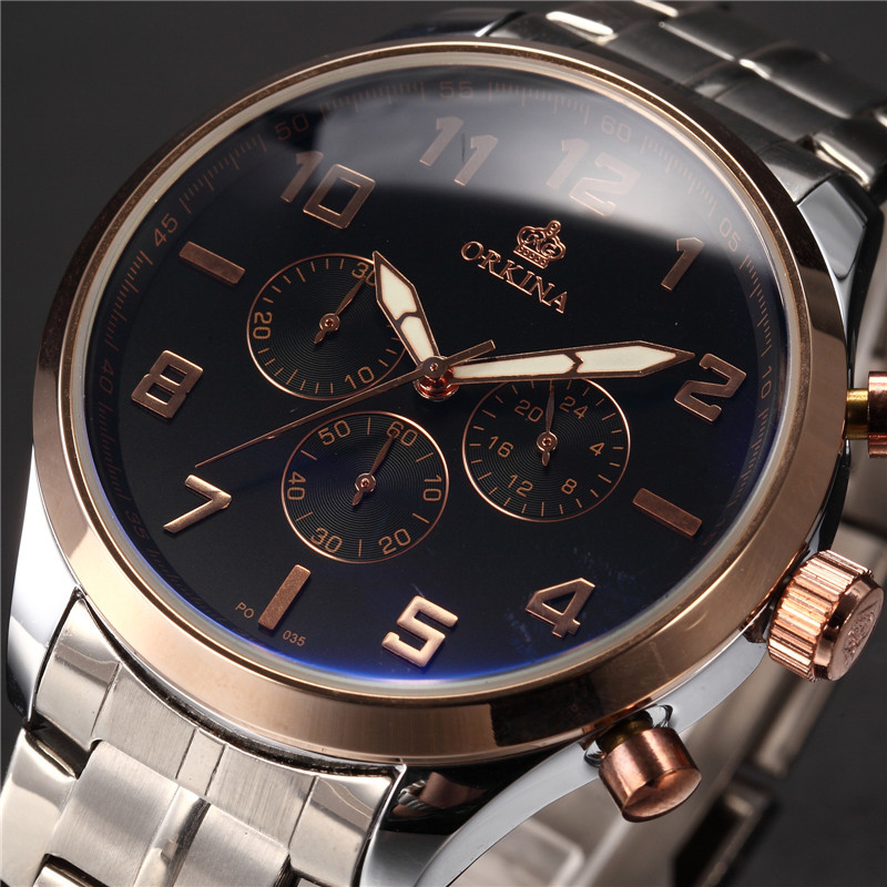 2017 mg orkina fashion men s crystal quartz stopwatches stainless steel wristwatch gift with box free ship MG. ORKINA Mens Watch MIYOTA Japan Movement Quartz Waterproof  Stainless Steel Band Big Dial Men Dress Watches Clock Men
