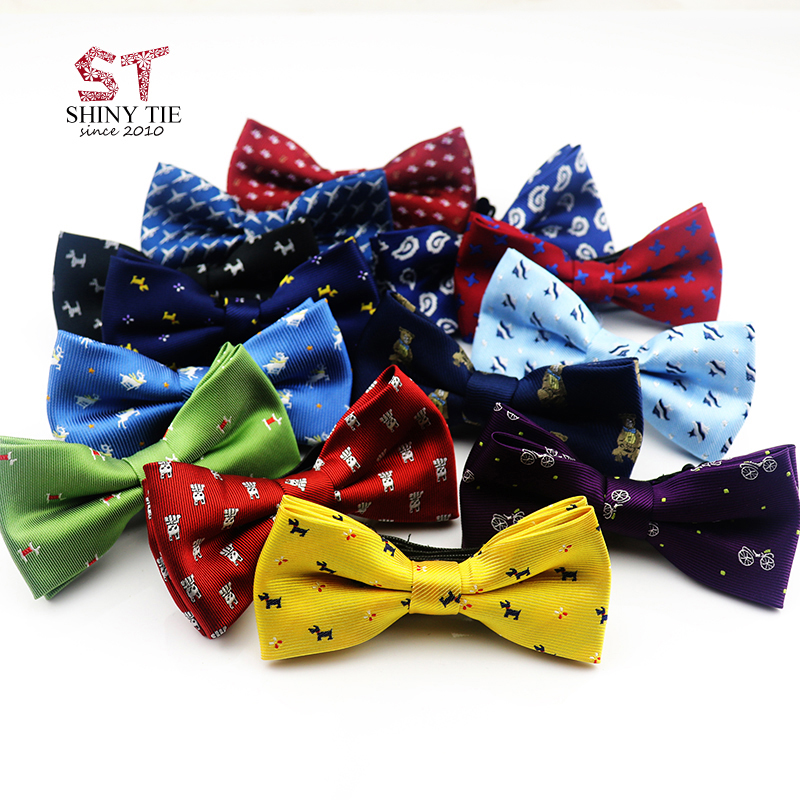 Yiyanyang Handmade Children Bowtie Polyester Baby Kids Bow Ties 10*5cm Fashion Dot Animal Printed Adjustable Elastic Butterfly