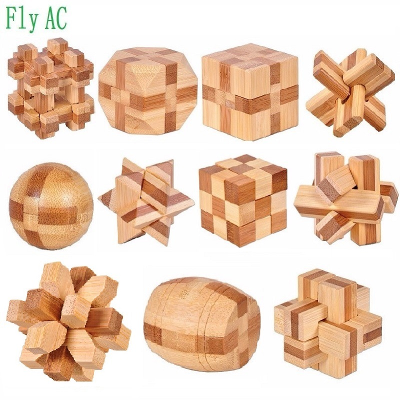 11 Pcs/set 3D Handmade Vintage Ming Lock Luban Lock Wooden Bamboo Toys Adults Puzzle Children Adult Birthday Gift
