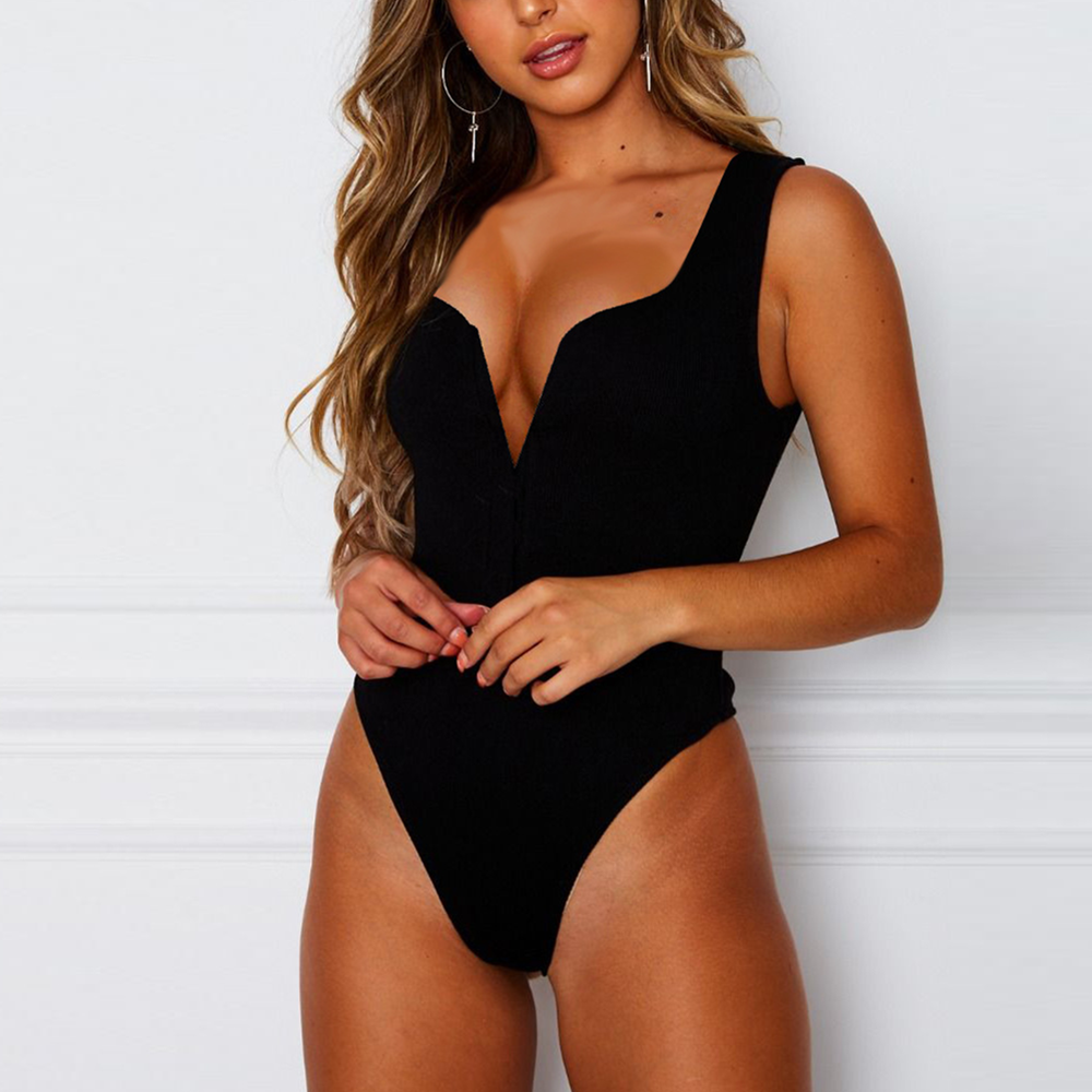 Summer Female Jumpsuits Bodysuits Solid Deep V-neck Women Sexy Rompers Casual Party Beach Backless White Black Bodysuits Women