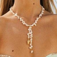 Boho Мода золото ожерелье с раковинами натуральный жемчуг делает красивые цепочки и ожерелья для женщин барокко ювелирные изделия Шарм себе ...