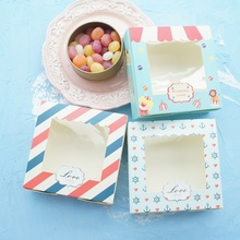 14.3*14.3*4.7cm 30pcs travel in world design Paper Box with Window for candy Cookie chocolate gift Packaging Wedding Use