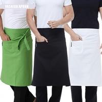 De alta Qualidade Da Moda Da Cintura Avental Da Cozinha Restaurante Churrasco Avental de Trabalho Curto de Algodão Das Mulheres Dos Homens Coreano Branco Azul Metade Avental