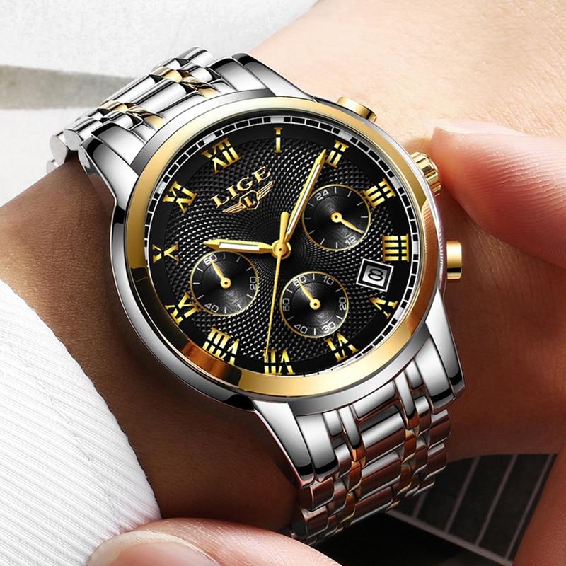 2019 LIGE New Watches Men Luxury Brand Chronograph Men Sports Watches Waterproof Full Steel Quartz Men's Watch Relogio Masculino