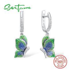 SANTUZZA Silver Earrings For Women 925 Sterling Silver Dangle Earrings Silver 925 Cubic Zirconia brincos Jewelry Party Enamel