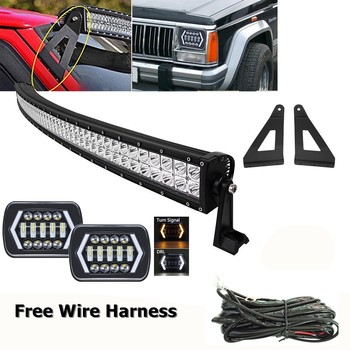 """For Jeep Cherokee XJ 1984-2001 Led Headlight 7X6Inch With 50"""" 288W CURVED LED Light Bar Mounting Bracket Kit"""