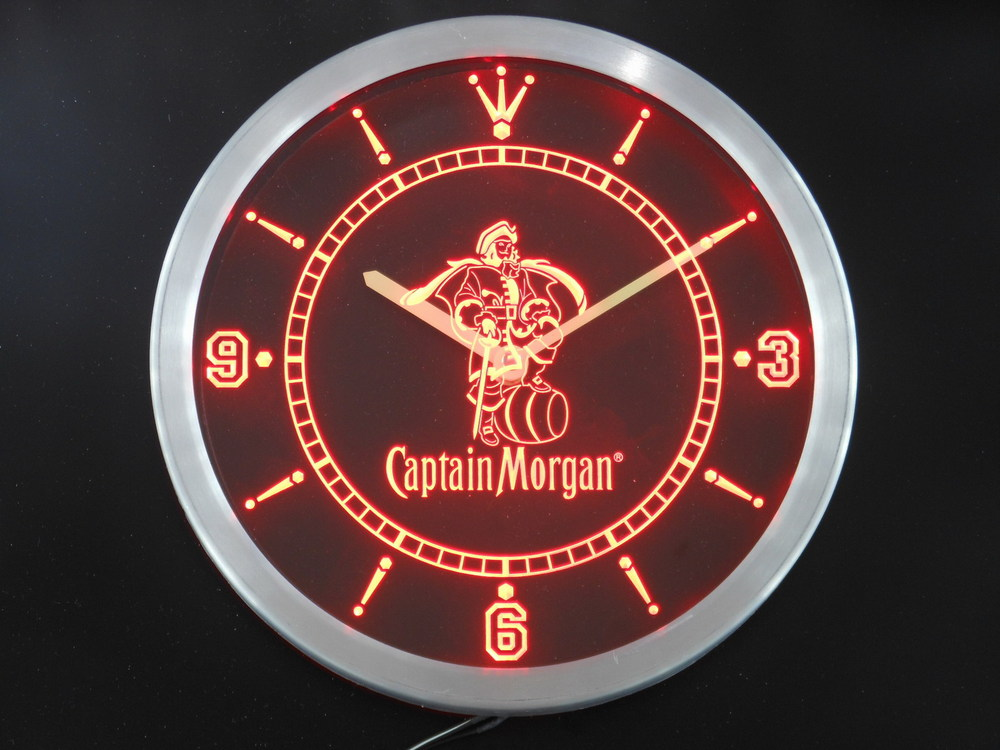 Nc0113 Captain Morgan Rhum Épicé Bar Neon Sign Horloge Murale LED