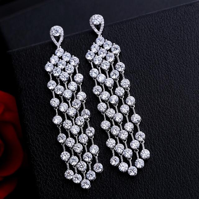 MIGGA Moda De Luxo Bonito Romântico Cubic Zirconia Nupcial Brincos de Cristal Longa Borla Brincos Pendurados para As Mulheres Noiva