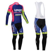 Bicycle Maillot Bib Pants 2016 Pro Team Lampre Merida Long Sleeve Cycling Jersey Thin Ropa Ciclismo