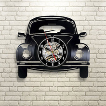 Black Hollow 3D Car Shape Vinyl Record Clock Creative Fashion Antique Style Hanging Clock Classic Home Decoration LED Wall Clock