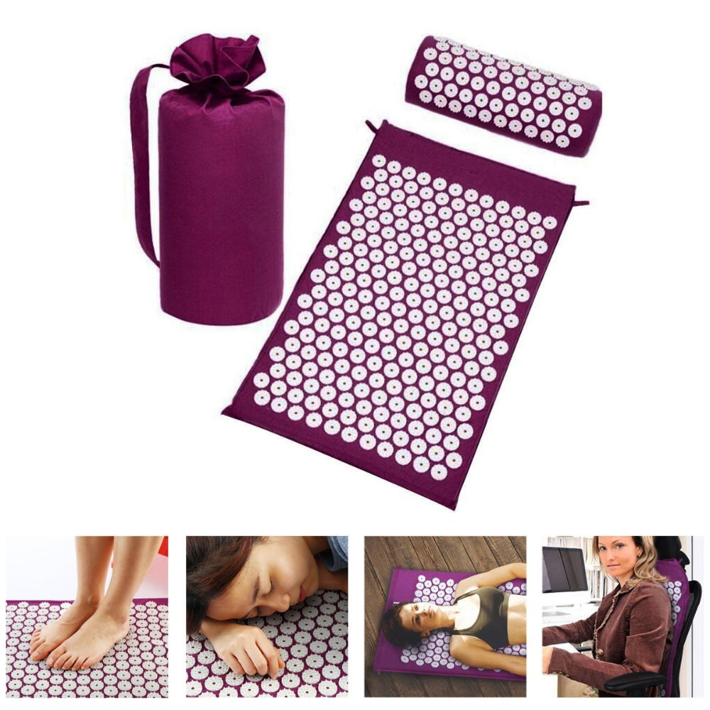 Spike Acupressure Mat and Pillow Set Relieve Body Foot Pain Stress Massage Cushion Acupuncture Mat Massager Pillow with bag acupressure mat and pillow set massage mat for natural relief of stress pain tension body head back foot massage cushion mat