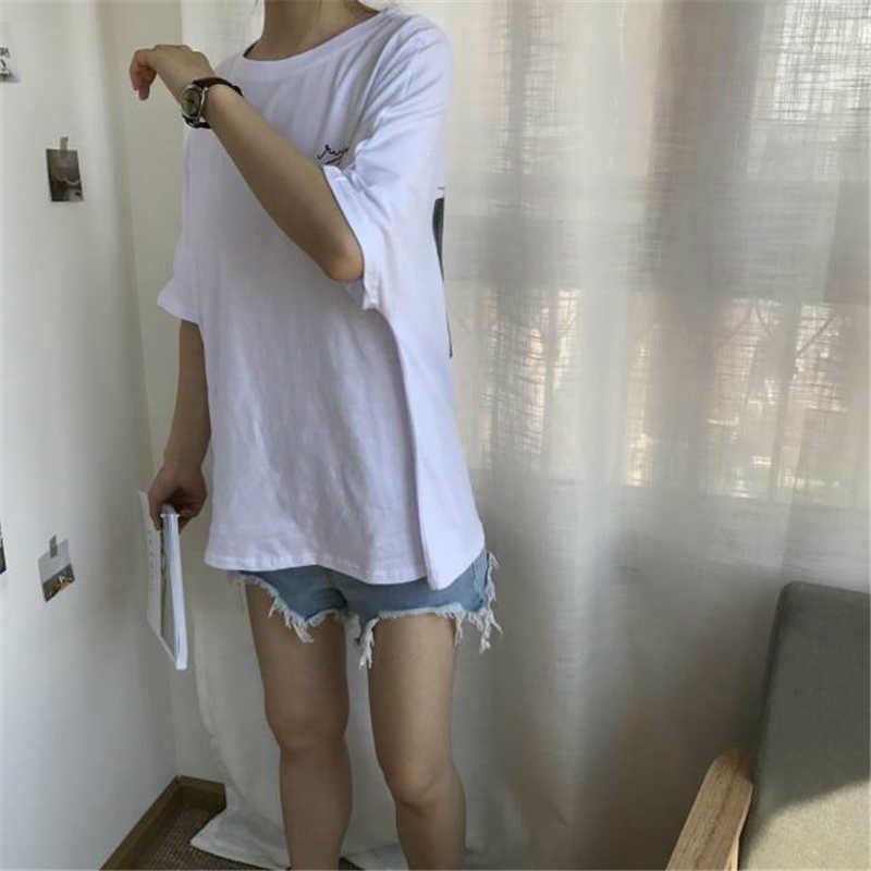 HziriP женские футболки, новинка 2018, корейские шикарные летние футболки с принтом букв и персонажей, женские футболки с круглым вырезом, повседневные хлопковые топы
