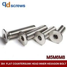 304 M5M6M8 flat countersunk head inner hexagon stainless steel screw bolt DIN7991 GB70.3 ISO 10642 JIS B 1194