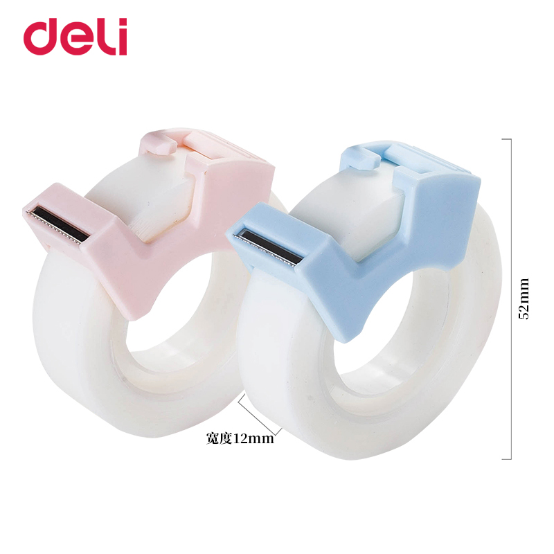 Deli kawaii transparent masking tape blue/pink student writing copy tape gift cutting 2 pieces washi tapes stationery wholesale 2