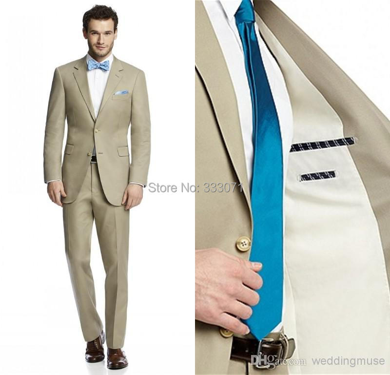 font b Custom b font font b Made b font Two Buttons Khaki Groom Tuxedos