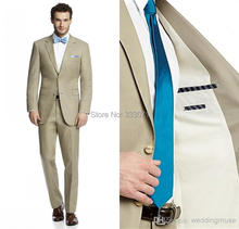 Custom Made Two Buttons Khaki Groom Tuxedos Notch Lapel Best Man Groomsmen Men Wedding Suits Bridegroom