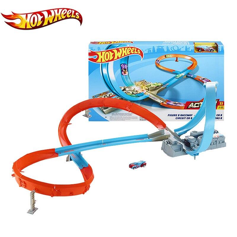Original Hot Wheels Track Car Toys Figure 8 Raceway 3 Style Building Model Racing Hotwheels GGF92 For Children Birthday Gift
