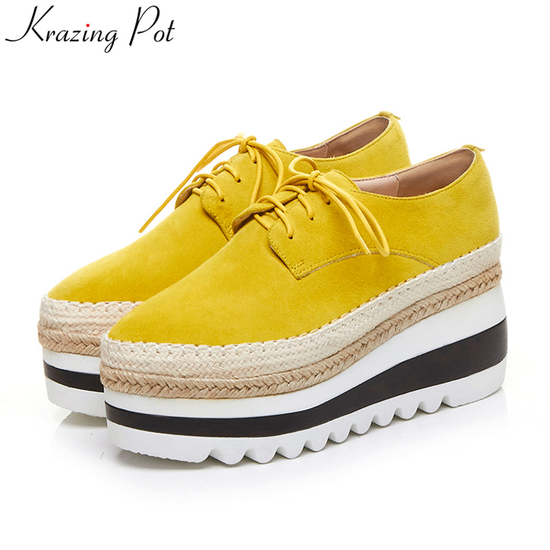 Krazing Pot brand shoes superstar wedges high heel women increased round toe lace up platform classic women casual shoes L55 genuine cow leather spring shoes wedges soft outsole womens casual platform shoes high heel round toe handmade shoes for women