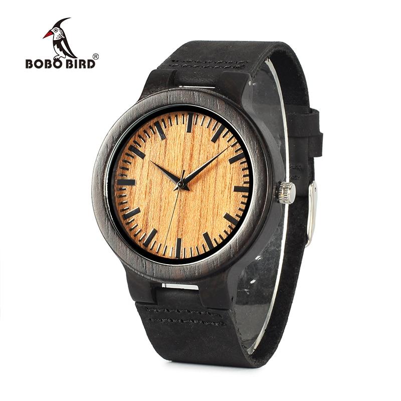 купить BOBO BIRD WC24 New Fashion 100% Natural Black Wood Watches Mens Luxury Vintage Watch For Men With Gift Box Accept OEM 2017 дешево