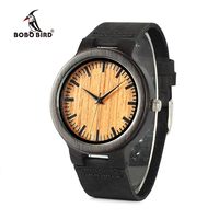 BOBO BIRD WC24 New Fashion 100 Natural Black Wood Watches Mens Luxury Vintage Watch For Men