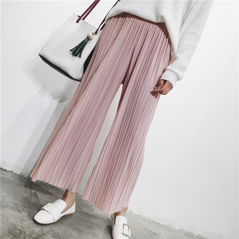 2019 Spring Summer   Pants   High Waist Pleated   Wide     Leg     Pants   Women Solid Loose Casual Palazzo   Pants   Ladies Ankle Length Trousers