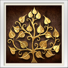 Neue mosaik voll laid diamant stickerei perlen Geheimnis Glück Golden Leaf Baum perlen kreuzstich malerei handarbeit