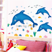 Saturday Mall Large Waterproof Removable Cartoon Kids Room Bathroom Decorative Wall Stickers Cute Dolphins Animal