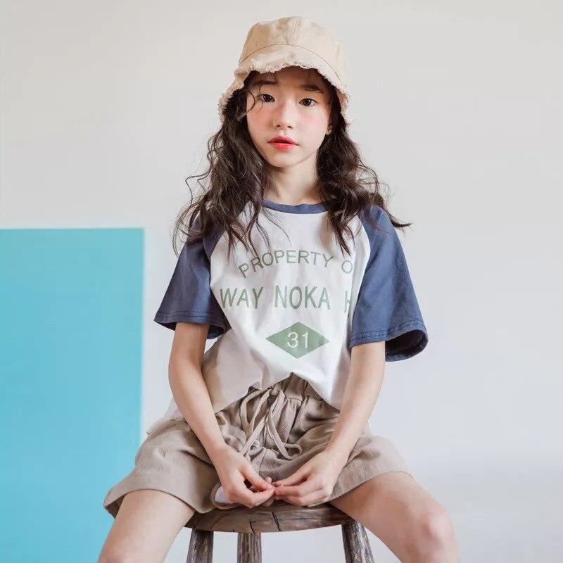 fd99c6a098282 Teenage Girls Children Clothing Set Cotton Clothes Vetement Enfant Fille  Summer Korean Kids Clothes Set 10 11 12 13 14 Year