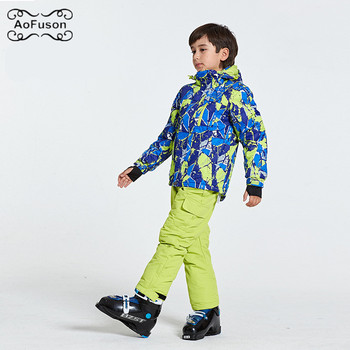 Children's Ski Snowboard Jackets Wear Hooded Jackets+Bandage Pants Kids Suits Girls Boys Winter Warm Snow Sport Skiing Coat Sets