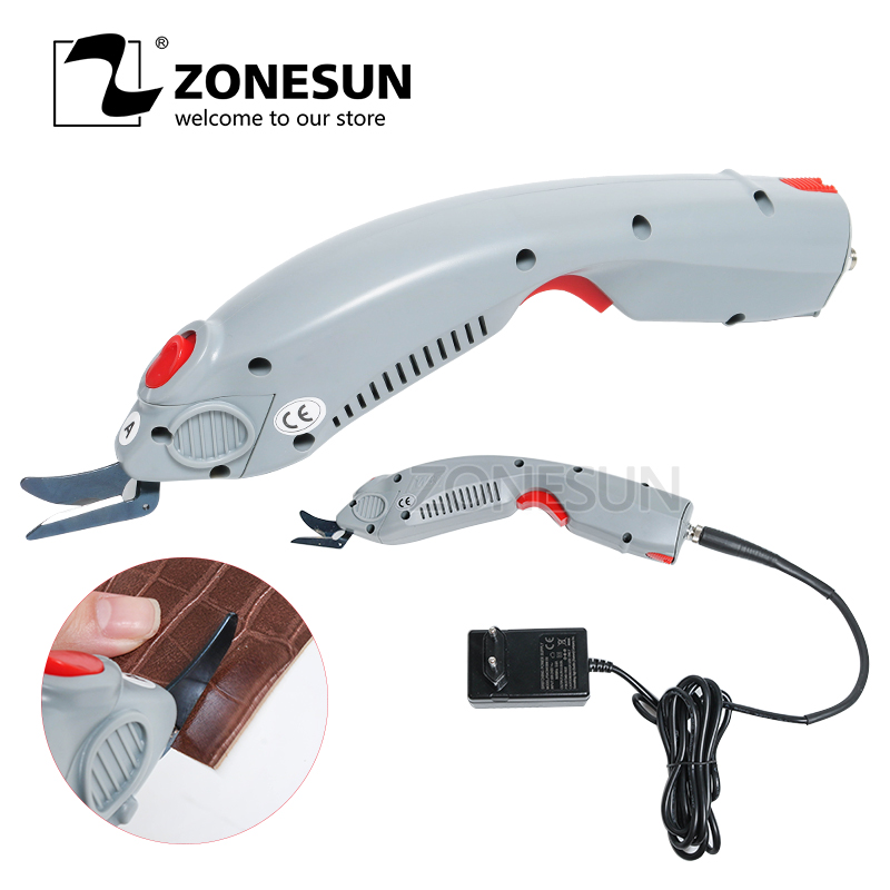 ZONESUN Electric Scissors Cutter for Cutting Paper Box Clothes Fabric Textile Leather Suitcase Trunk Trimming Cutting Edge Tool the cutting edge