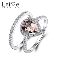 Leige Jewelry Natural Morganite Engagement Ring Set Pink Gemstone Pear Cut 925 Silver Wedding Rings for Women Anniversary Gift