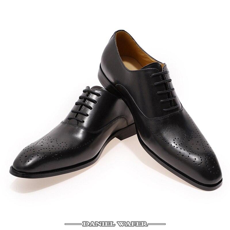 Chaussures italiennes hommes cuir boucle sangle affaires bureau noir chaussures à lacets BROCUE formel bout pointu OXFORDS chaussure mode robe-in Chaussures d'affaires from Chaussures    2