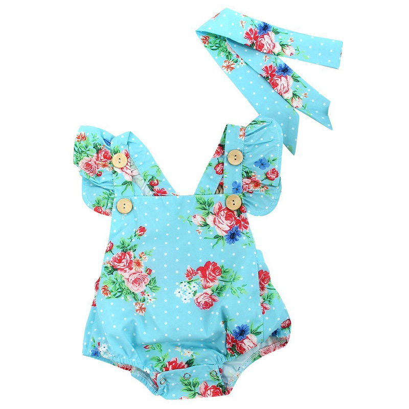 BABY BALL Sleeveless Newborn Baby Girls Bodysuit Summer Toddle Infant Little Girl Backless Baby Clothes + Headband Overalls D40