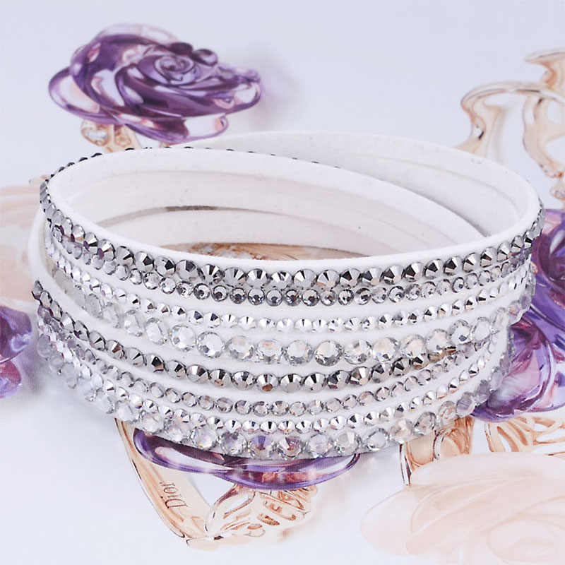 New Arrival Leather Bracelet Rhinestone Crystal Bracelet Wrap Multilayer Bracelets for women feminino pulseras mulher Jewelry