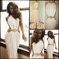 Prom Dress 2017 Crystal Vestidos De Formatura Sereia Long White Mermaid Prom Dress High Neck Sleeveless Evening Dresses DYQ912