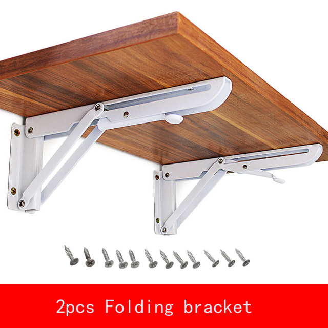 2Pcs 8 12 Inch Folding Bracket Triangular Metal Release Catch Support Bench  Table Folding Shelf