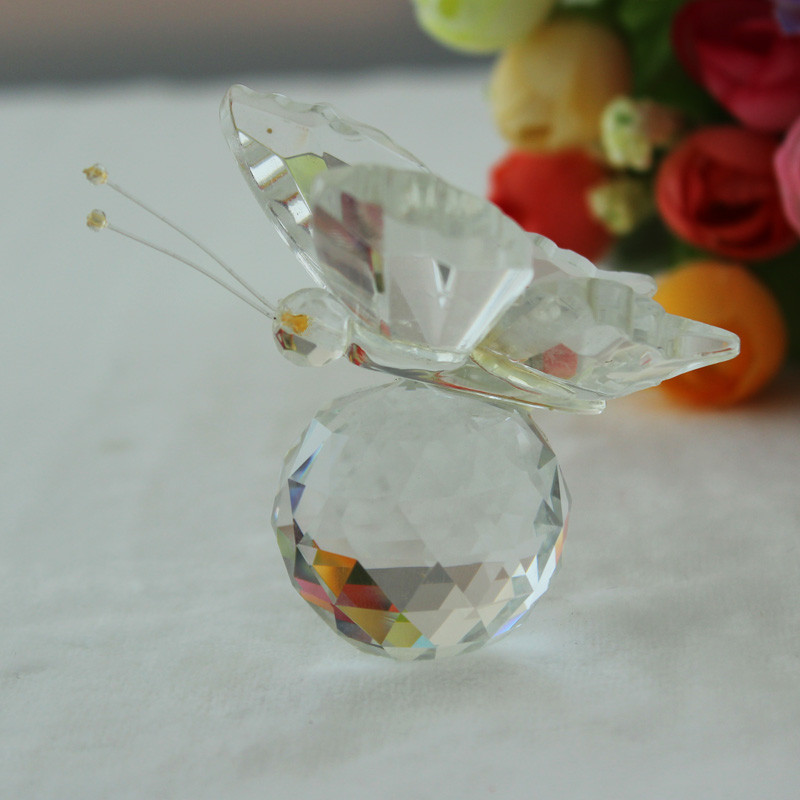 JQJ Miniature Crystal Glass Animals Butterfly Figurine Mini Home Desk Decorations Ornaments Terrarium Decor Figurines Craft Gift