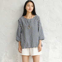 Red Black Plaid O Neck Plus Size Women Blouse Shirt Cotton Loose Causal Summer Shirts Blouse