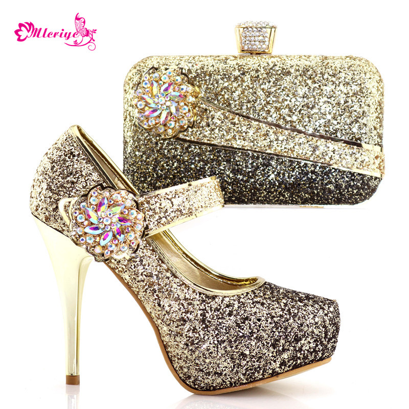 8886-1 Gold Color Rhinestone Woman Slipper Shoes And Bag Set 2018 Hot African Fashion Shoes And Bag Set For Party On Stock hot artist african style slipper shoes and matching bag set fashion rhinestone ladies pumps shoes and bag set for party me7708