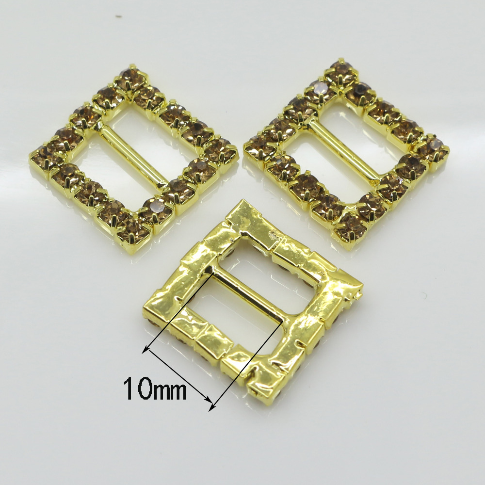 Shiny Square 10pc golden Rhinestone Buckle Diamante Ribbon Slider ...