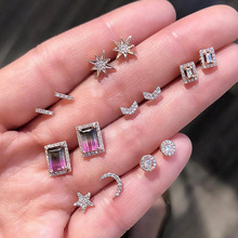 7 Pairs/set Crystal Rhinestone Heart Stars Moon Cross Simple Mix Style Cute Stud Earrings Set For Women Girls Fashion Jewelry
