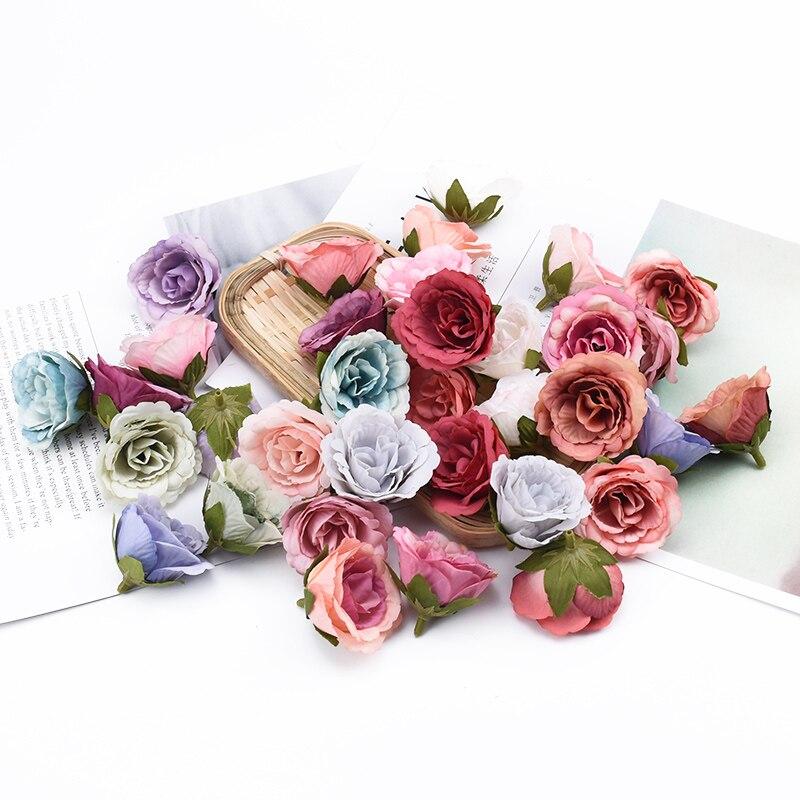 10 шт. шелковые розы рождественские украшения для дома Свадебные Скрапбукинг цветы настенные декоративные цветы венок с искусственными цве...