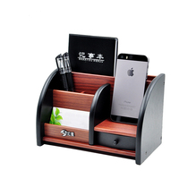 Wooden High Grade Multifunctional Desk Stationery Organizer Storage Box Pen Pencil Box Holder Case Brown
